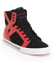 Supra Kids Skytop Black & Red Skate Shoe