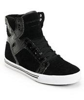 Supra Kids Skytop Black Croc & Suede Skate Shoe