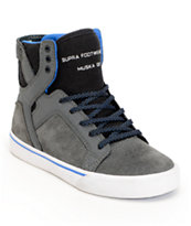 Supra Kids Skytop Grey Canvas High Top Skate Shoe