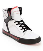 Supra Kids Skytop White, Black, & Red High Top Skate Shoe