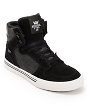 Supra Kids Vaider Black Denim & White Skate Shoes