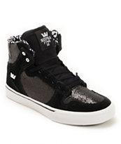 Supra Kids Vaider Black Glitter Skate Shoe
