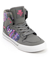 Supra Kids Vaider Charcoal Nubuck Skate Shoe