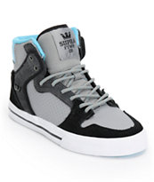 Supra Kids Vaider Grey, Turquoise, & White Skate Shoes