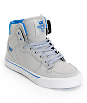 Supra Kids Vaider Grey & Blue Canvas High Top Skate Shoe