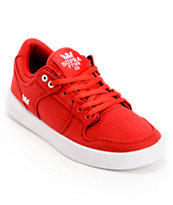 Supra Kids Vaider LC Red & White Canvas Skate Shoe