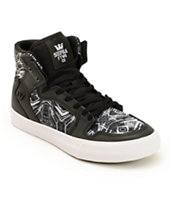 Supra Kids Vaider Leather Print Skate Shoes
