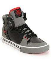 Supra Kids Vaider Red & Grey High Top Skate Shoes