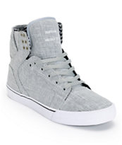 Supra Skytop Grey Linen & White Canvas Skate Shoe