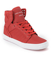 Supra Skytop Red Express Tuf Canvas Skate Shoe