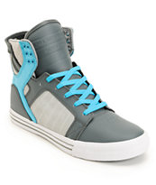 Supra Skytop Smooth Grey & Turquoise Action Leather Skate Shoe