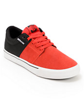Supra Stacks Vulc Red Suede & Black Canvas Skate Shoe