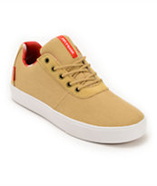 Supra Strike Tan, Red, & White Canvas Skate Shoe