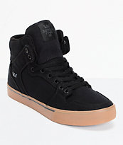 Supra Vaider Black Canvas & Gum Skate Shoe