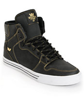 Supra Vaider Black Satin TUF & Gold Shoe