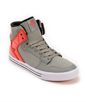 Supra Vaider Grey, Red, & White Leather Skate Shoe