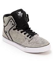 Supra Vaider Scorched Grey & Black Suede Skate Shoe