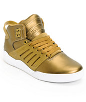 Supra Womens Skytop III Gold Leather Skate Shoe