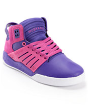 Supra Womens Skytop III Purple & Pink Leather Skate Shoe