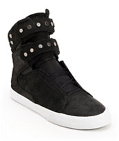 Supra Womens TK Society Studded Black Waxed High Top Shoes