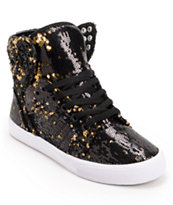 Supra x A Morir Womens Skytop Black & Gold Sequin Shoe