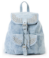T-Shirt & Jeans Acid Wash Denim Studded Rucksack Backpack
