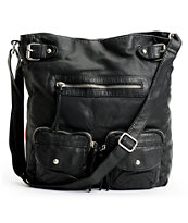 T-Shirt & Jeans Black Faux Leather Crossbody Tote Bag