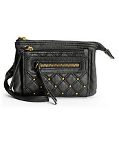 T-Shirt & Jeans Black Quilted Faux Leather Wristlet