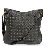 T-Shirt & Jeans Black Studded Faux Leather Tote Bag