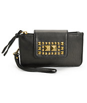 T-Shirt & Jeans Black Studded Snap Closure Wristlet