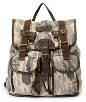 T-Shirt & Jeans Camo Print Rucksack Backpack