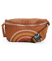 T-Shirt & Jeans Cognac Brown Embroidered Stitched Fanny Pack
