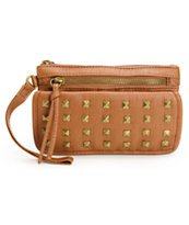 T-Shirt & Jeans Cognac Brown Studded Wristlet
