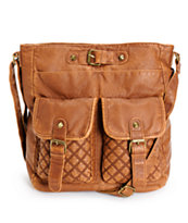 T-Shirt & Jeans Cognac Quilted Pocket Faux Leather Tote Bag
