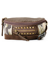 T-Shirt & Jeans Dark Brown & Camo Print Studded Fanny Pack