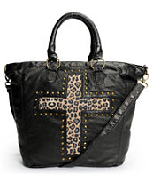 T-Shirt & Jeans Leopard Stud Cross Black Faux Leather Tote Bag