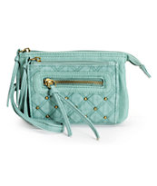 T-Shirt & Jeans Mint Quilted Faux Leather Wristlet