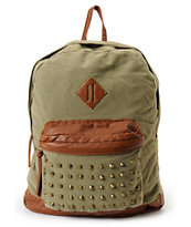 T-Shirt & Jeans Olive Green Studded Backpack