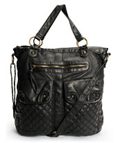 T-Shirt & Jeans Quilted Pocket Black Faux Leather Tote Bag