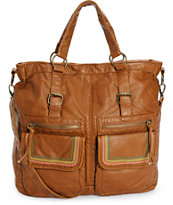 T-Shirt & Jeans Ryleigh Color Stitching Cognac Tote Bag