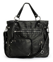 T-Shirt & Jeans Square Pocket Black Faux Leather Tote Bag