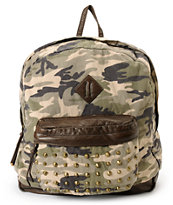 T-Shirts & Jeans Camo Print Studded Backpack
