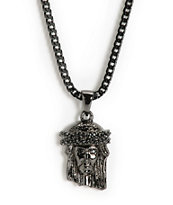 The Gold Gods Jesus Black Rhodium Necklace