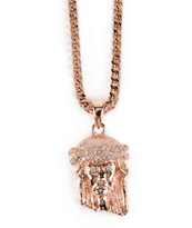The Gold Gods Micro Jesus Rose Gold Necklace