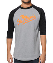The Hundreds Alder Grey Raglan Baseball Tee Shirt
