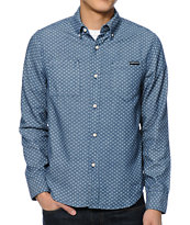 The Hundreds Clouds Navy Print Long Sleeve Button Up Shirt