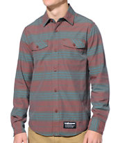 The Hundreds Cooper Woven Maroon Long Sleeve Button Up Shirt