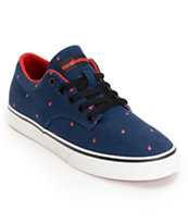 The Hundreds Johnson Low Polkabomb Navy & Red Canvas Skate Shoe