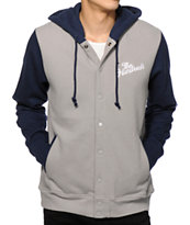 The Hundreds Raphael Grey & Navy Fleece Varsity Jacket