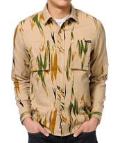 The Hundreds Thistle Print Khaki Long Sleeve Button Up Shirt